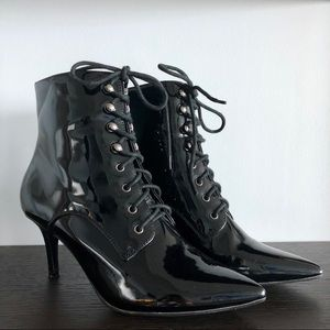 Lace Up Patent Leather Booties